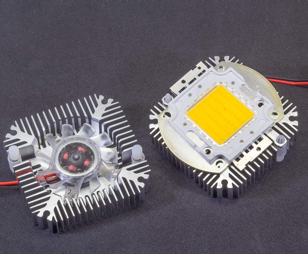 5W to 10W Aluminum LED Thermal Heat Sink with Active Cooling Fan 12VDC 90mA