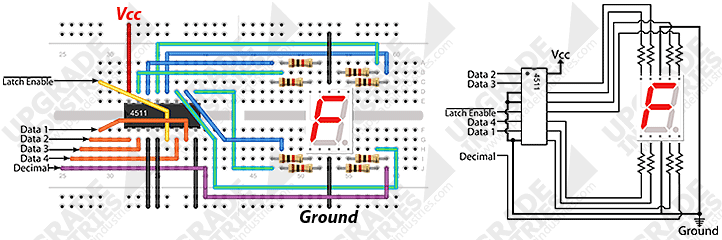 Upgrade Industries Cd4511 Bcd To 7 Segment Decoder Ic